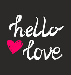 Hello love card with pink heart vector