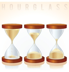 Hourglass three different states graphics vector