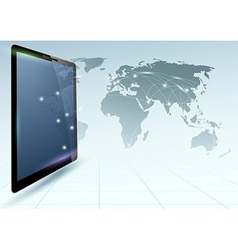 Global connections controlled via tablet device vector