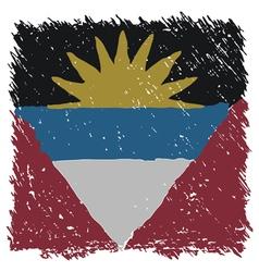 Flag of Antigua and Barbuda handmade square shape vector image