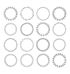 Romantic collection with hand drawn circle frames vector image