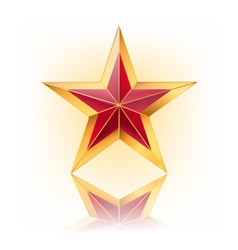 Red star with gold vector
