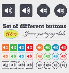 Speaker volume sign icon sound symbol big set of vector