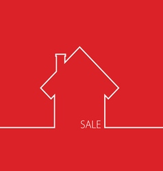 Sale house in red vector