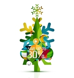 Merry christmas tree with promotion commercial vector