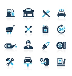 Gas station icons azure vector