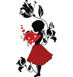 Silhouette little girl with lovely bouquet vector