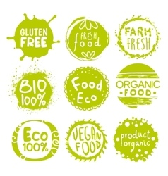 Green eco food lables set vector