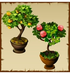 Two trees bonsai with coins and flowers vector