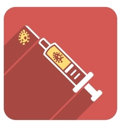 Infection injection flat rounded square icon with vector