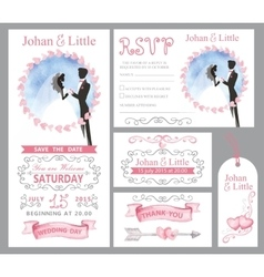 Wedding invitation setcouple bridegriimpink vector