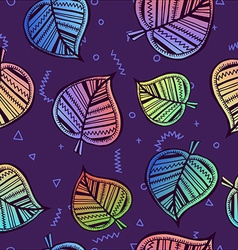 Leaf seamless pattern with colorful summer style vector