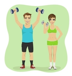Young couple exercising with dumbbells together vector