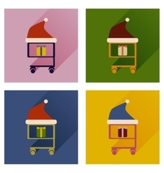 Set of flat icons with long shadow cart christmas vector