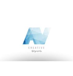 Av a v blue polygonal alphabet letter logo icon vector