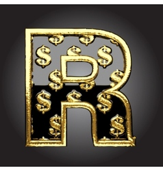 black letter with dollars vector image vector image