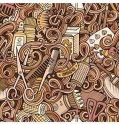 Cartoon cute doodles hairdressing salon seamless vector image vector image
