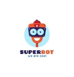 Cartoon robot head logo vector