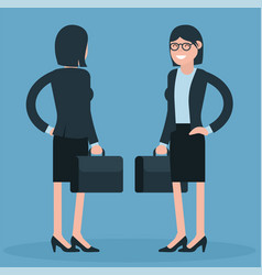 cartoon young business women vector image vector image