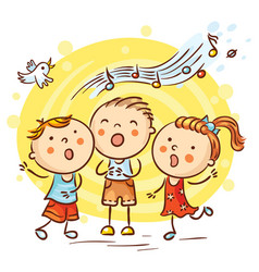 Children singing songs colorful cartoon vector