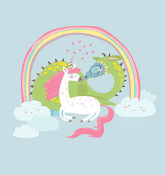 Cute cartoon dragon with unicorn vector