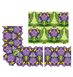 decorativ floral border and seamless pattern vector image vector image