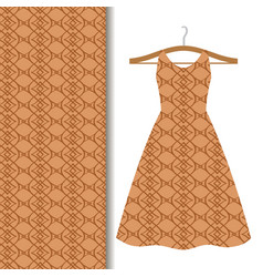 Dress fabric with brown geometric pattern vector