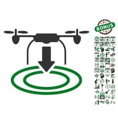 Drone Landing Icon With Bonus vector image vector image