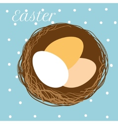 Easter eggs in nest vector
