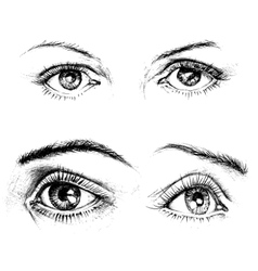 Eyes icons isolated Carbon drawing set vector image vector image