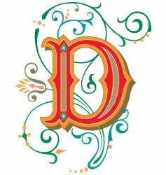 floral letter d vector image vector image