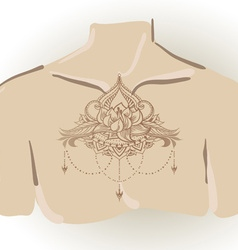 Freehand drawing of lotus tattoo on chest vector