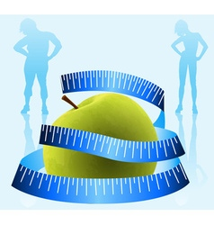 Green Apple With Measurement Tape Design vector image