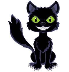 Happy black cat sitting vector
