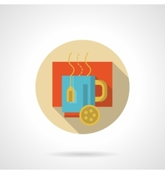 Hot tea with lemon flat round icon vector image vector image