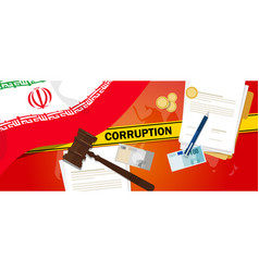 Iran corruption money bribery financial law vector