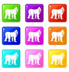 Mandrill monkey icons 9 set vector