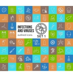Mega collection of outline infections and viruses vector image vector image