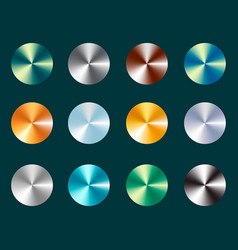 Metallic silver and gold conical metal gradients vector