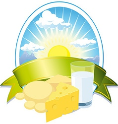 Milk and cheese label vector