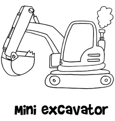 Mini excavator of art vector