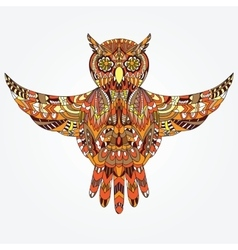 Ornamental hand-drawn owl vector image vector image