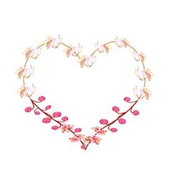 Pink cassia fistula flowers in a heart shape vector