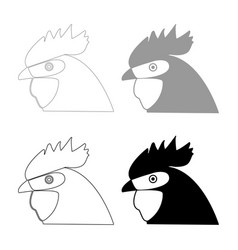 Rooster head the black and grey color set icon vector