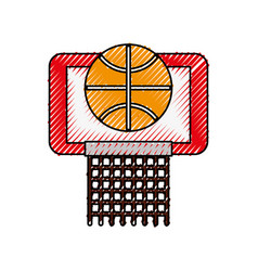 scribble basket ball in the hoop cartoon vector image