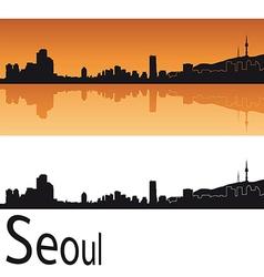 Seoul skyline in orange background vector