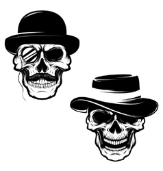 Set of skulls in hat and monocle design element vector