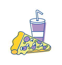 Soda and pizza background icon vector