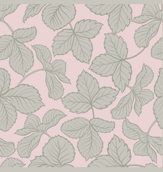 Strawberry leaves seamless pattern vector