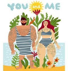 Tattooed couple cartoon poster vector